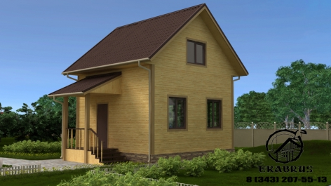 Проект Д-6. Дом из бруса 6х6. 2 этажа