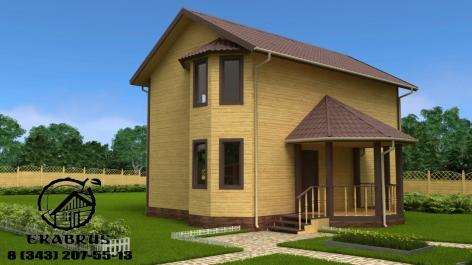 Проект Д-7. Дом из бруса (с эркером) 6х9